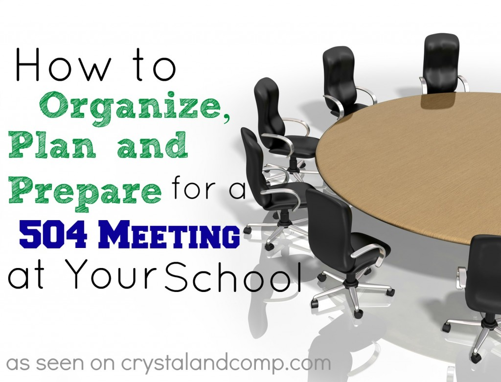 how to plan and organize for a 504 meeting at school