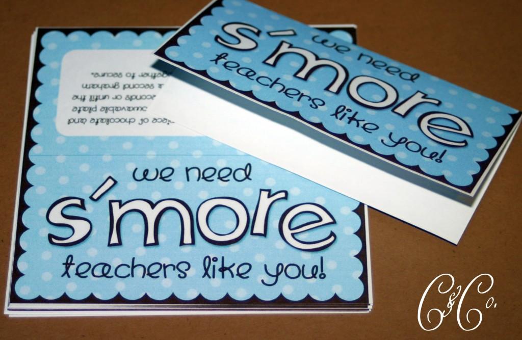 Teacher Appreciation Gifts: Smore Printable
