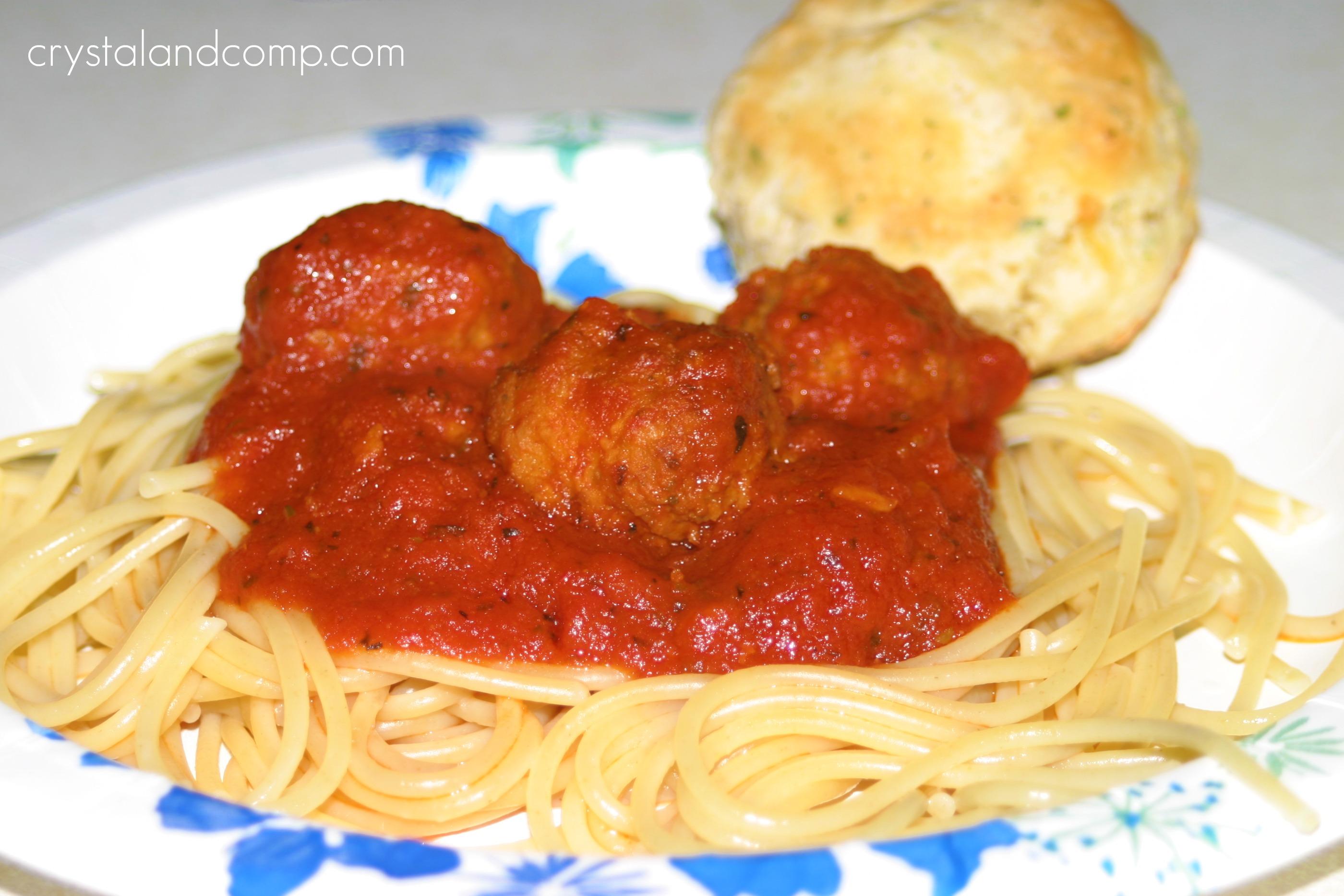 Super Easy Spaghetti and Meatballs in the Crockpot | CrystalandComp ...