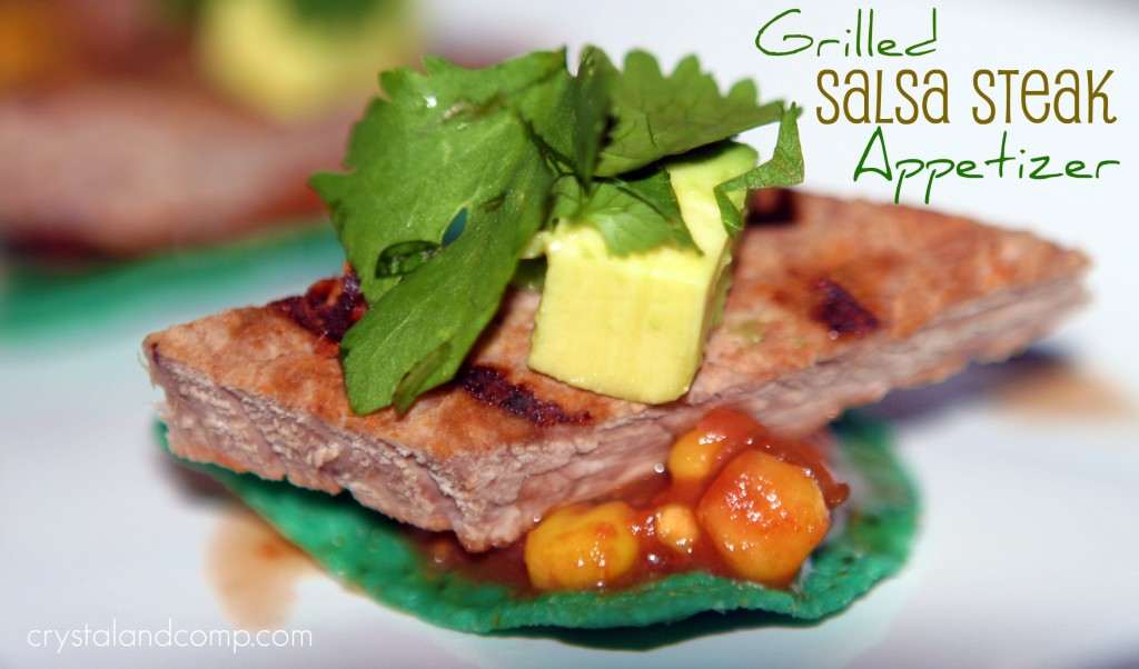 grilled salsa steak appetizer that is perfect for a party