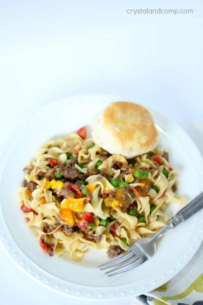 one pot beef and noodle meal