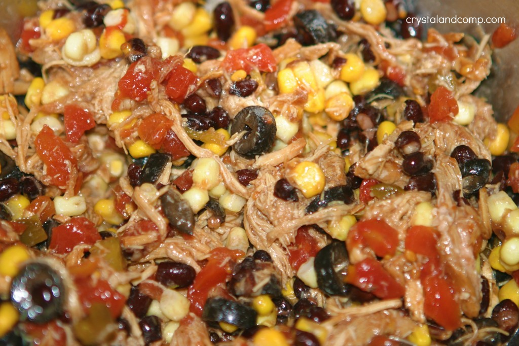 black beans corn olives