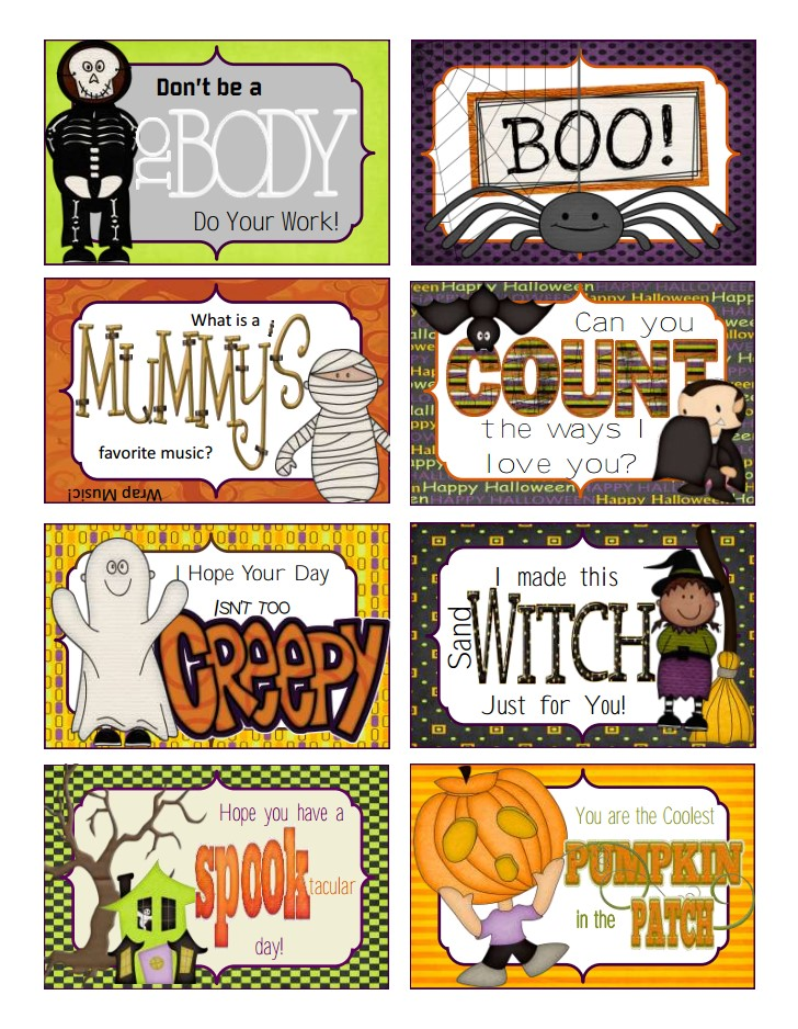halloween lunch box cards