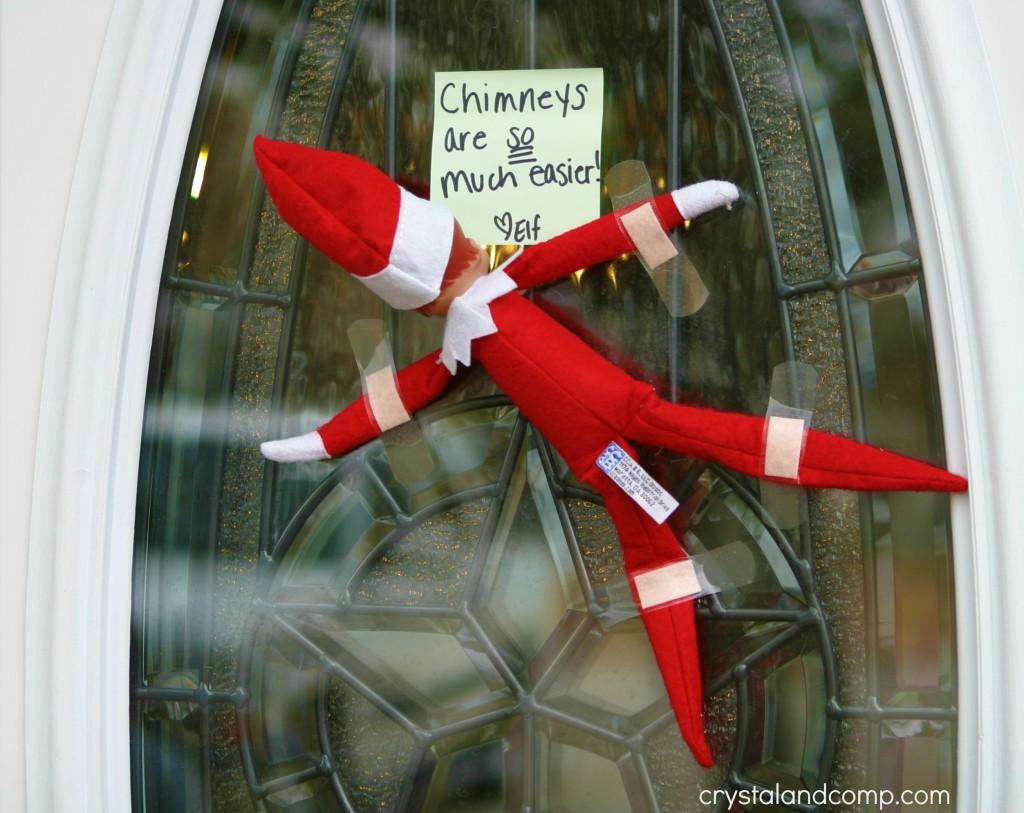 Elf on the shelf when elf gets stuck for Elf door ideas