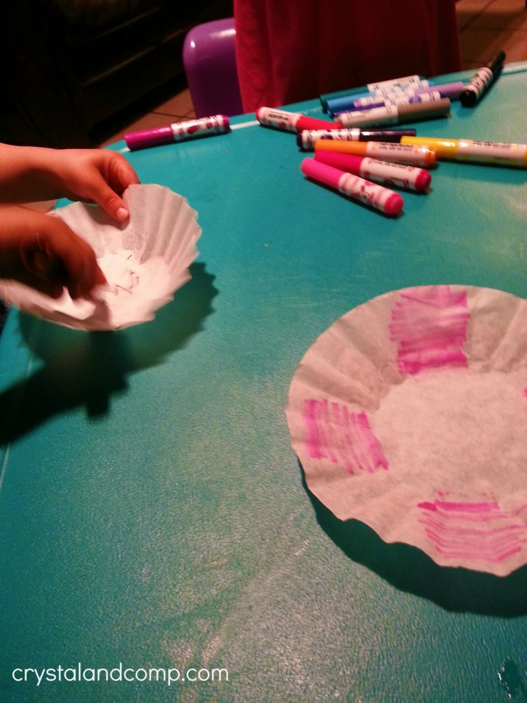 use markers to color in coffee filters to then make paper flowers