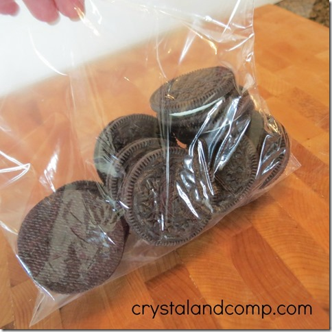 oreo cookies can be crushes to make fake dirt