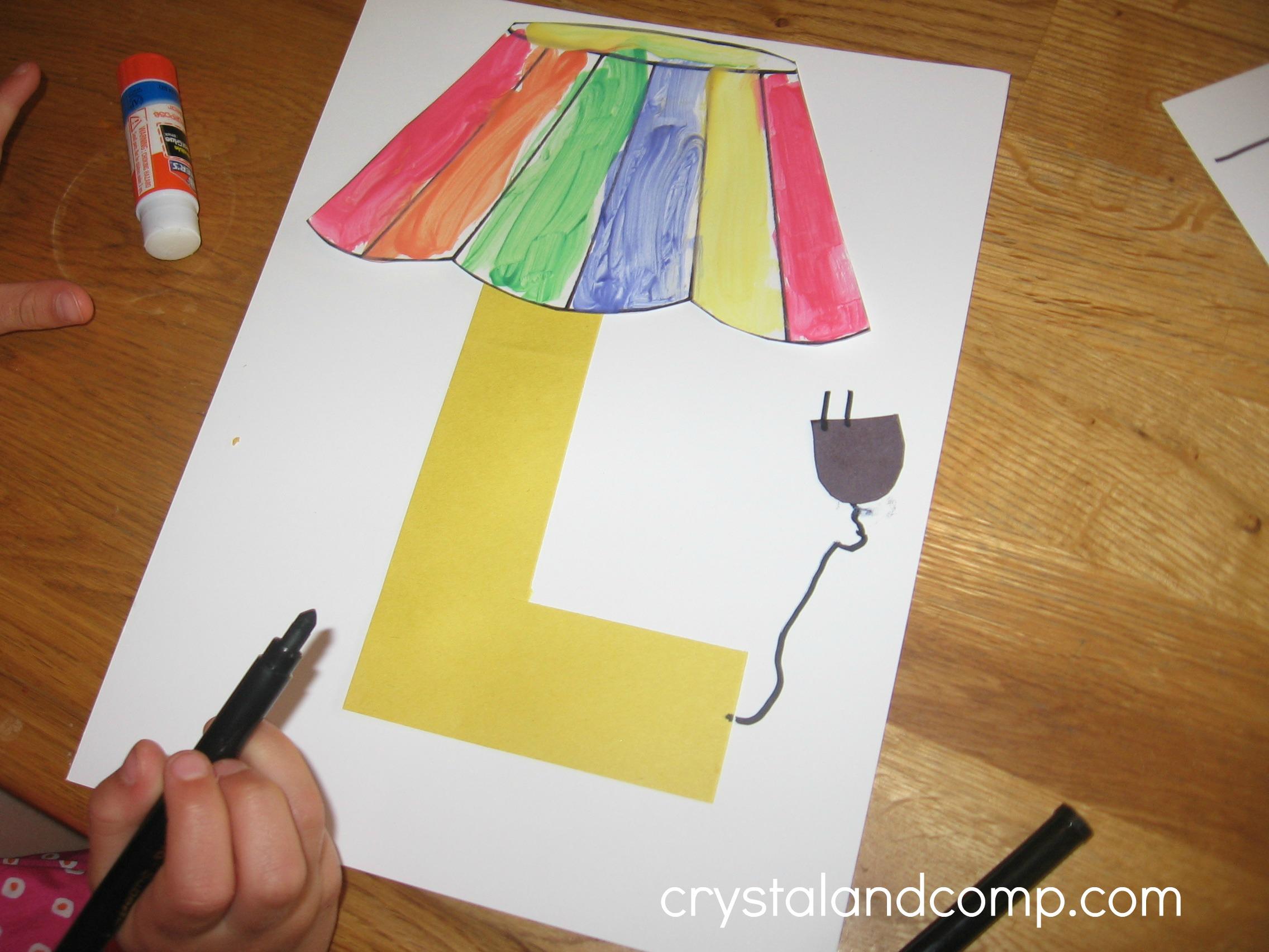 Alphabet activities for preschoolers l is for lamp for Art craft for preschool