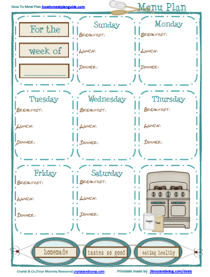 Free Meal Planning Printable for Breakfast Lunch and Dinner – Printable Meal Planner