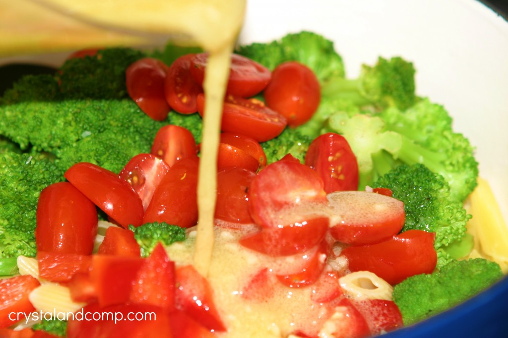 pour dressing over pasta and veggies