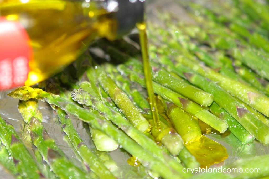 evoo on baked asparagus