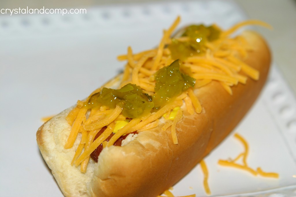 hotdog with relish and cheese