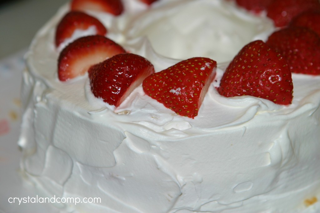 Strawberry Angel Food Birthday Cake