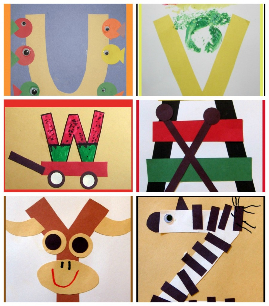 letter of the week art preschool uvwxyz