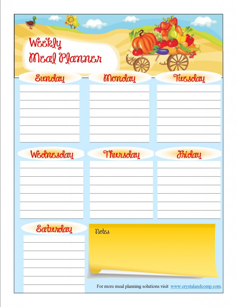 free printable meal planner October 2013