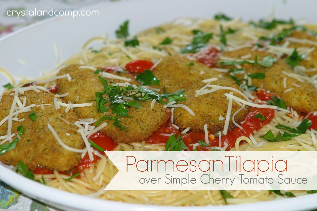 easy recipes parmesan tilapia over simple cherry tomato sauce