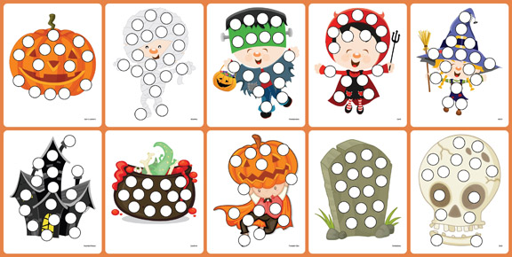 Free Preschool Printable Worksheets: Halloween Do A Dot