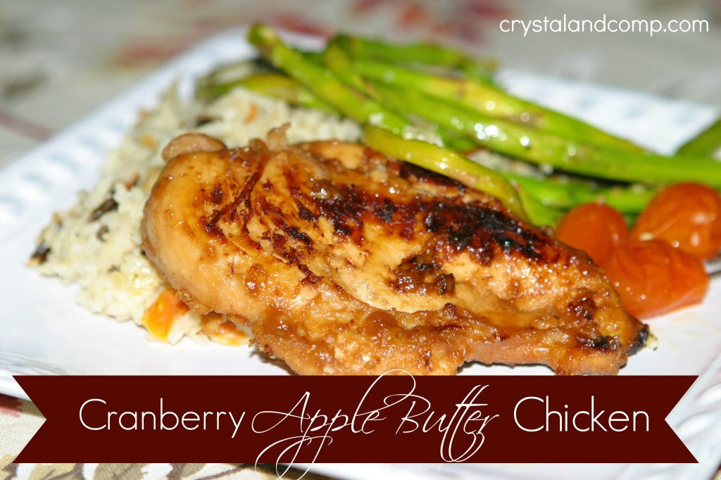 cranberry apple butter chicken on the stove