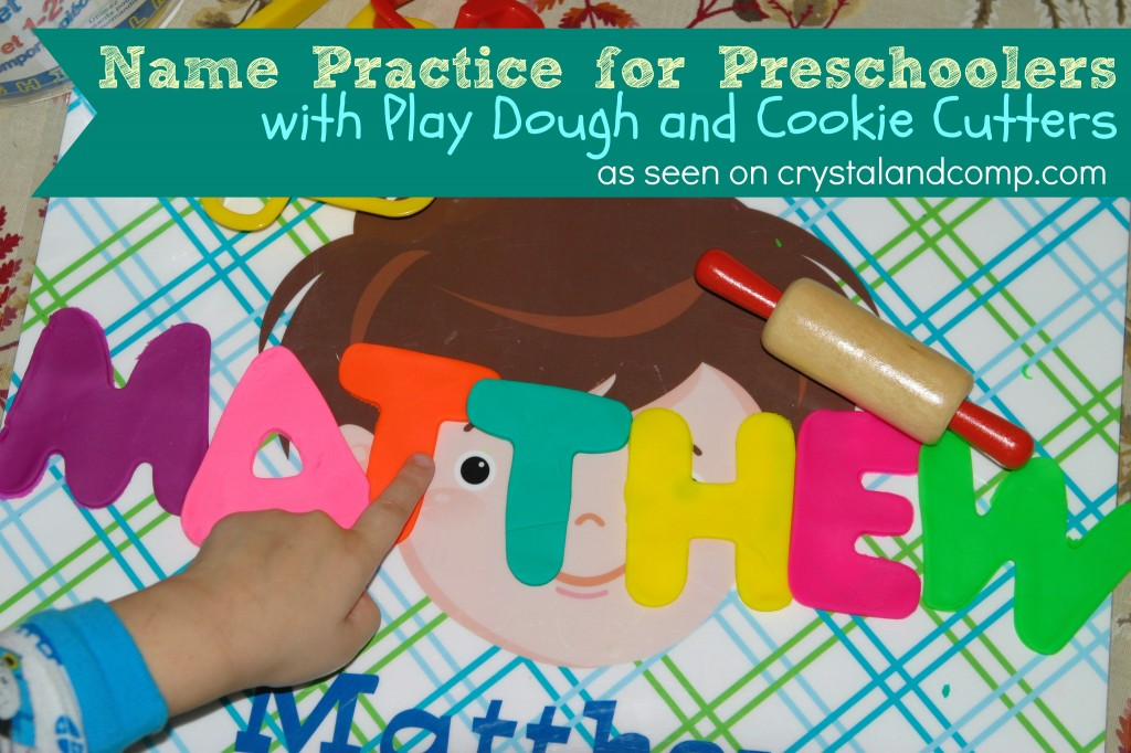 name practice for preschoolers with play dough and cookie cutters