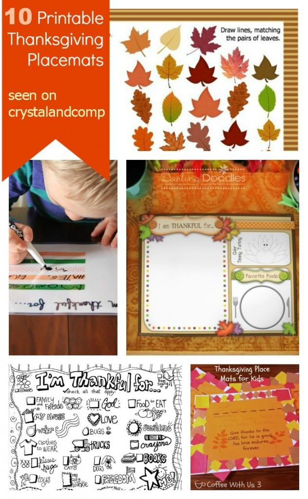 10 Printable Thanksgiving Placemats