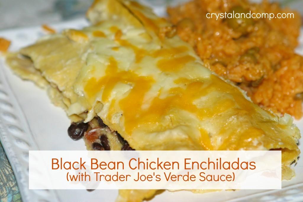 Black Bean Chicken Enchiladas (with Trader Joe's Verde Sauce)
