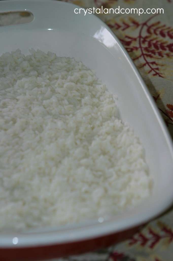 cooked rice in casserole dish