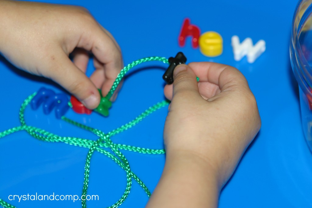 name practice for preschoolers lacing beads