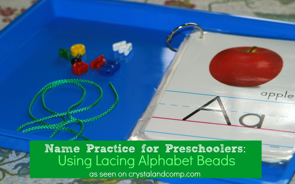 name practice for preschoolers using lacing alphabet beads