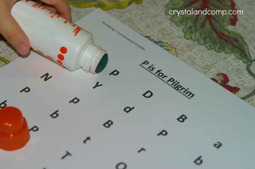 p is for pilgrim thanksgiving printable