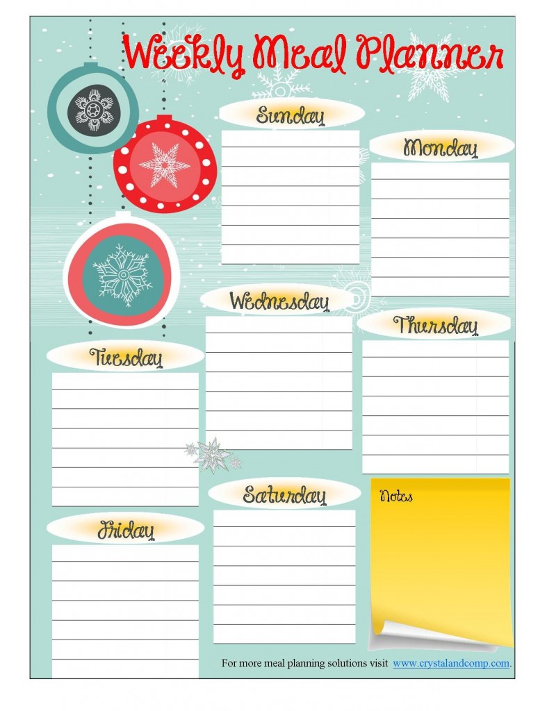 free printable meal planner for December