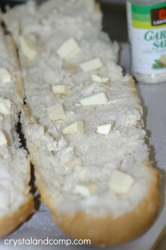 butter on garlic bread