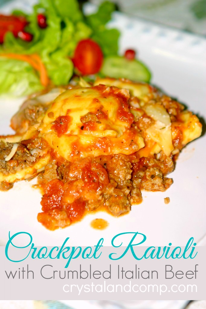 crockpot ravioli with crumbled beef