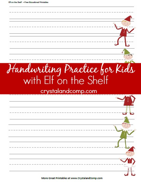 handwriting practice for kids using an elf on the shelf printable