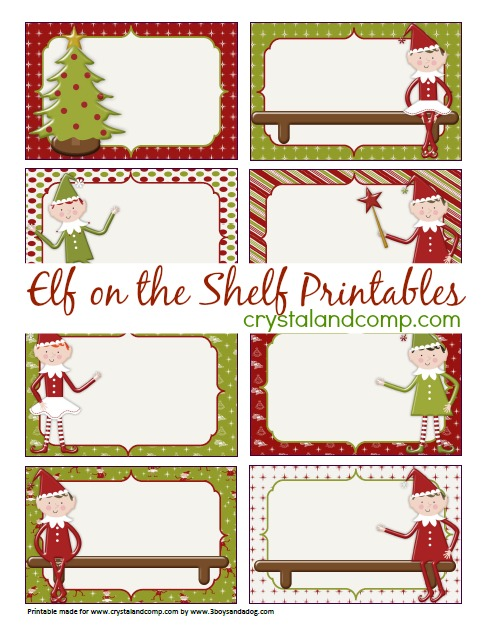 elf on the shelf printable note cards