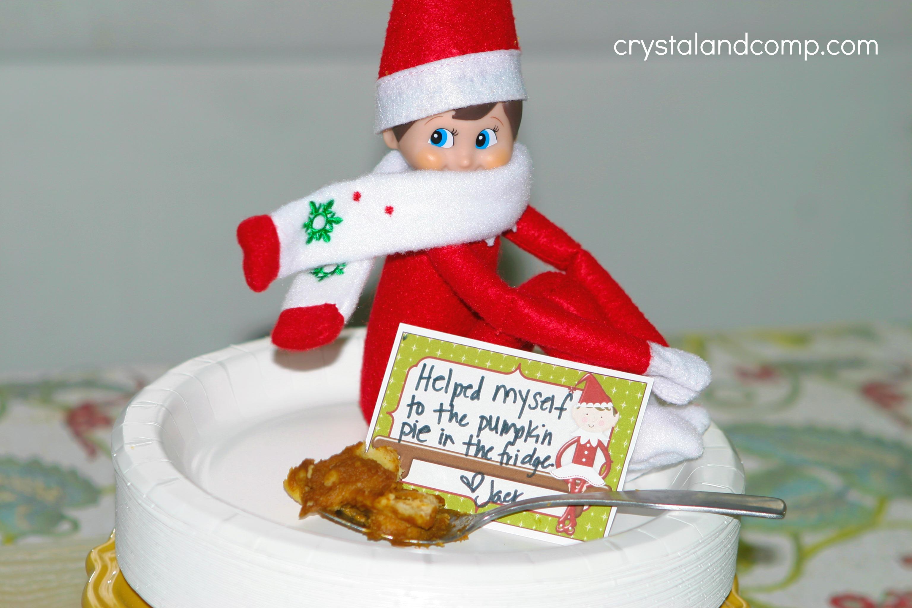 Elf on the Shelf Ideas: Eat Leftover Pumpkin Pie