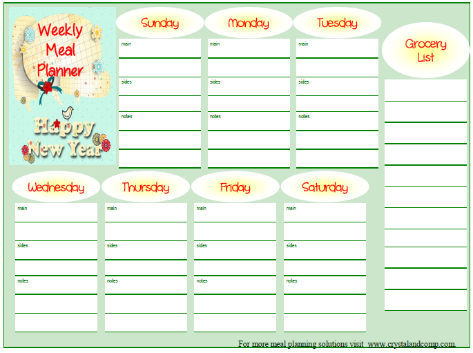 free printable meal planner january 2014