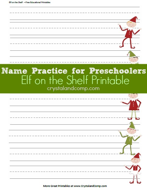 name practice for preschoolers elf on the shelf printables