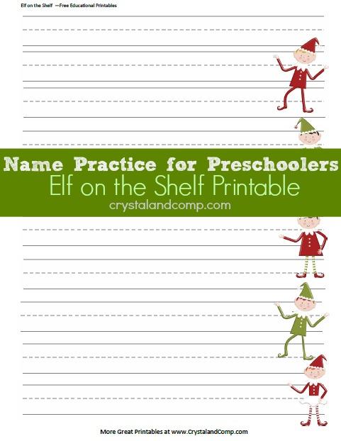 name practice for preschoolers elf on the shelf printables