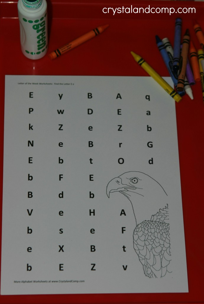 preschool letter worksheets e is for eagle