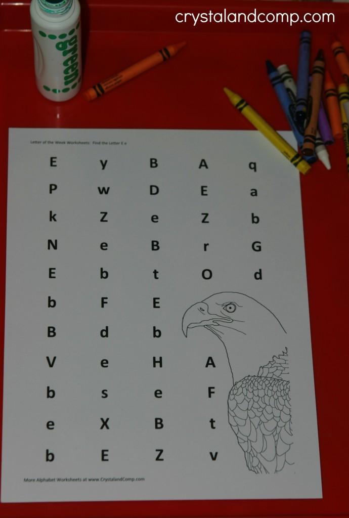 preschool letter worksheets e is for eagle