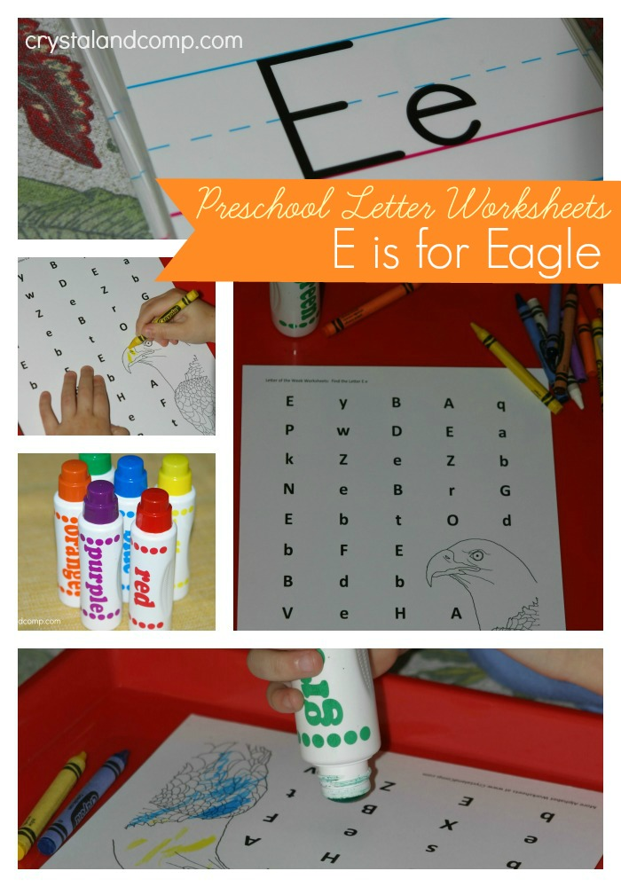 preschool letter worksheets e is for eagle do a dot