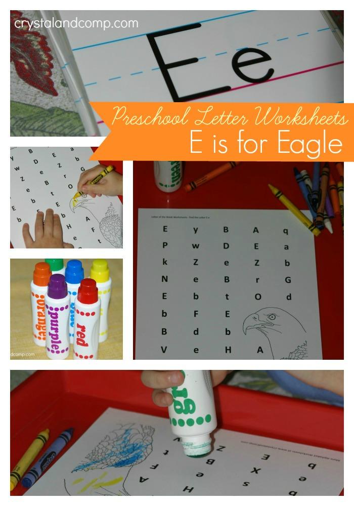 preschool letter worksheets e is for eagle do a dot