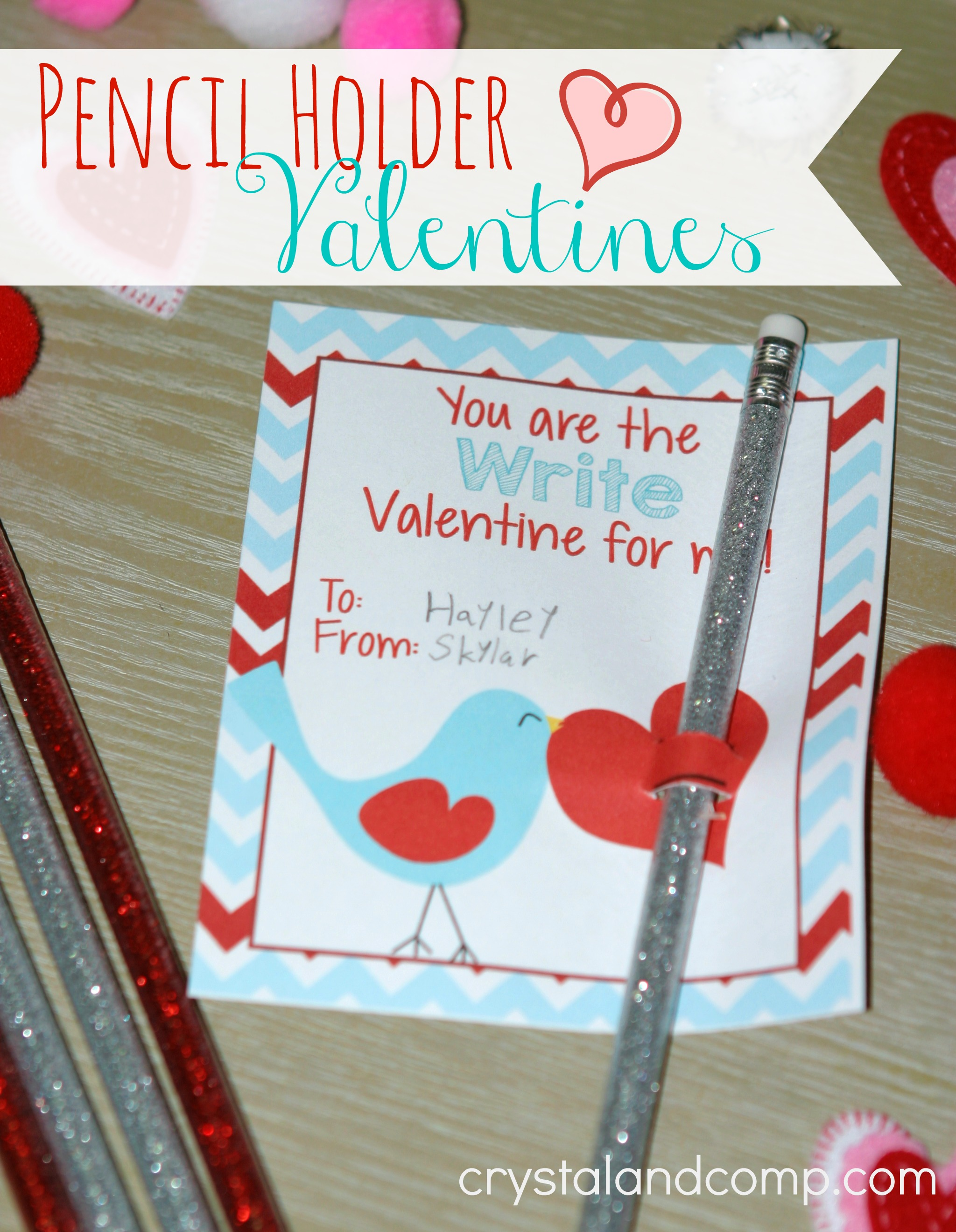 photo regarding Printable Valentine Craft named Valentine Pencil Holder