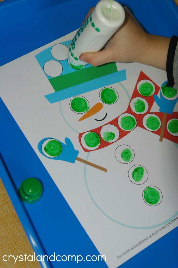 preschool do a dot printables snowman