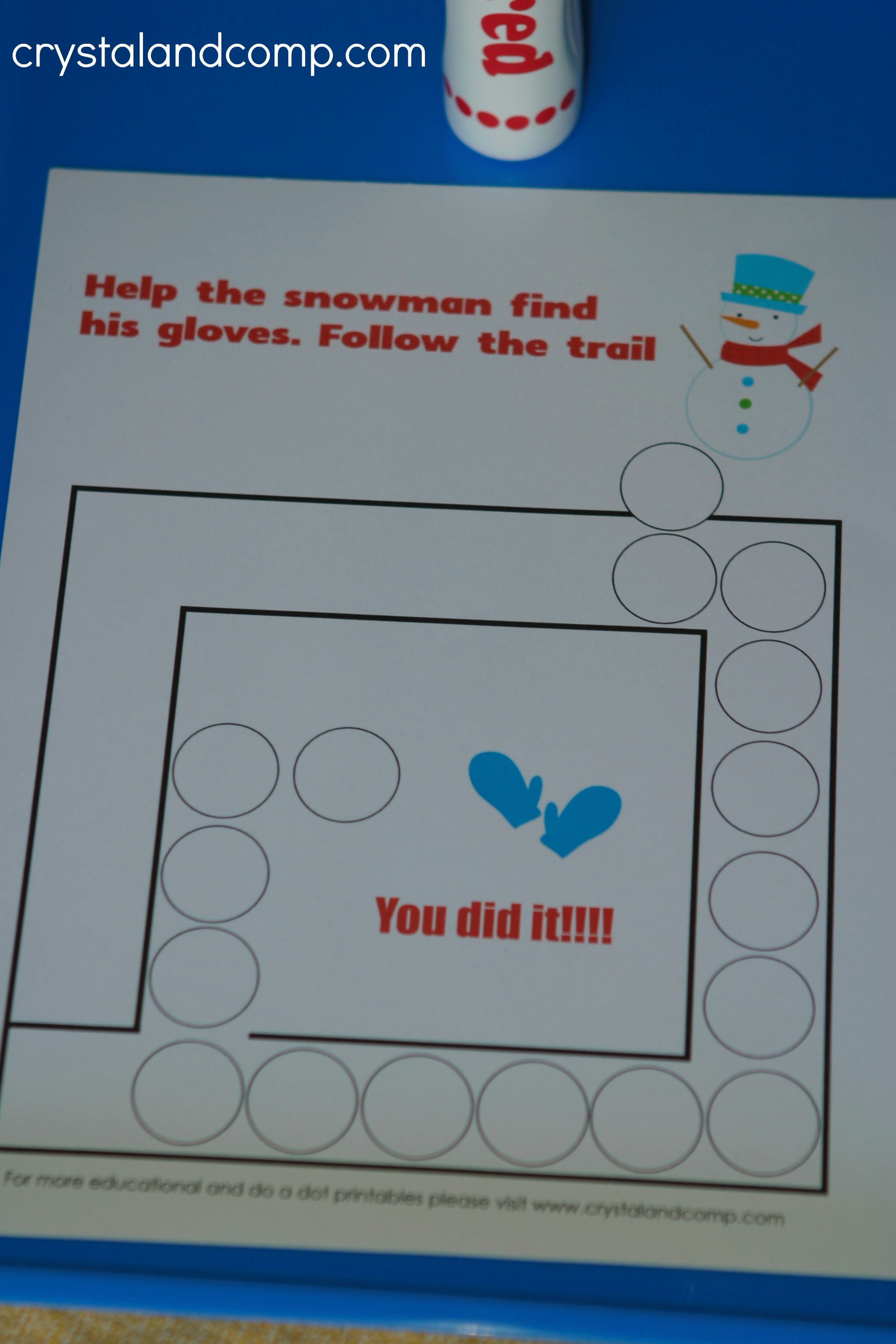 Snowman Do a Dot Printables for Preschoolers | CrystalandComp.com