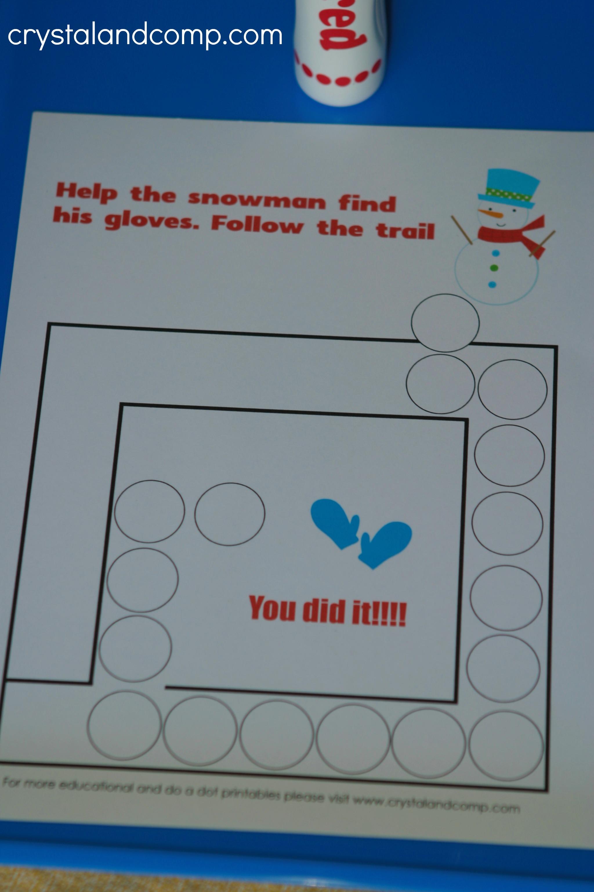 Snowman Do a Dot Printables for Preschoolers | CrystalandComp.com