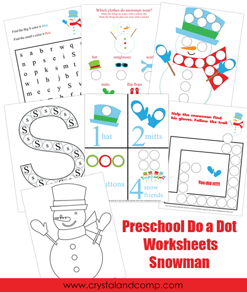 preschool do a dot worksheets snowman