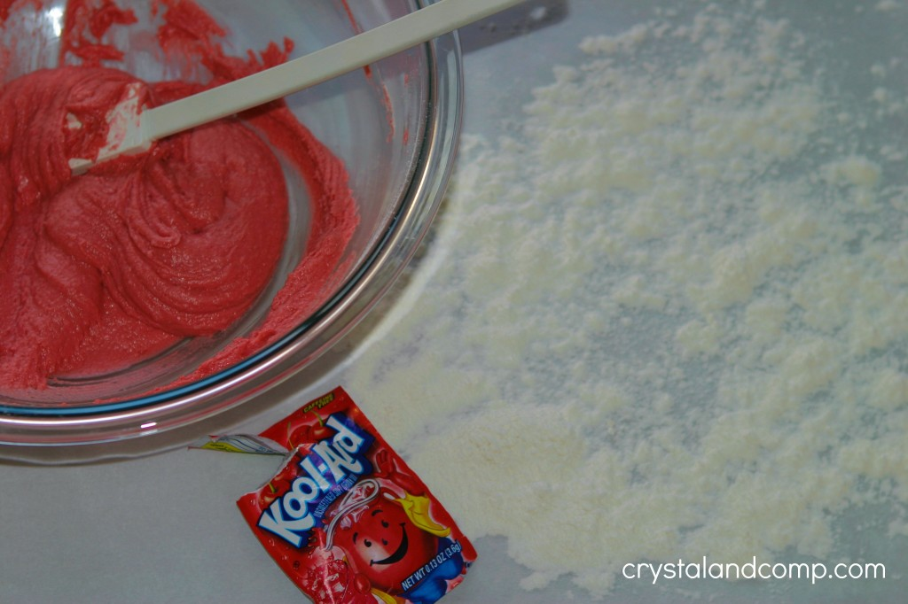 red kool aid play dough for valentine's day