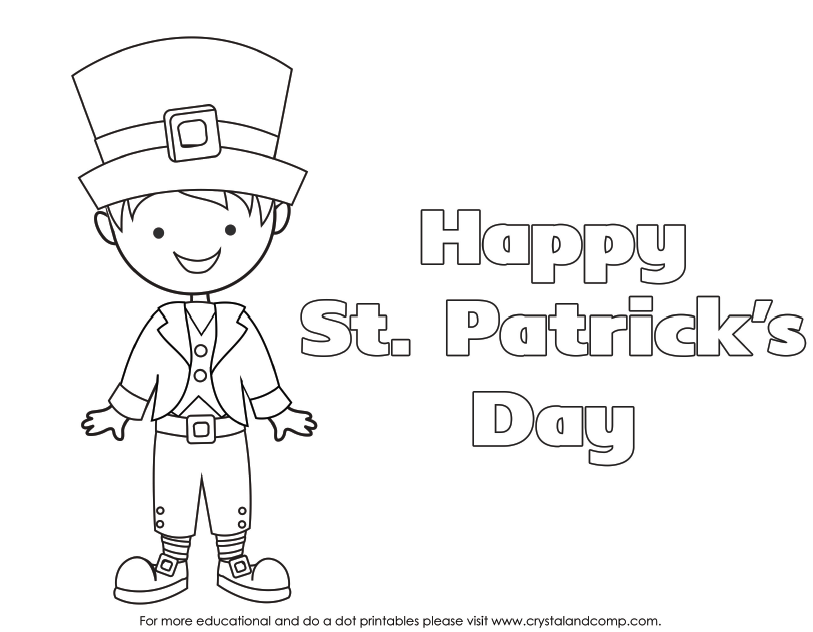 picture relating to St Patrick's Day Coloring Pages Printable titled Boy or girl Colour Webpages for St. Patricks Working day