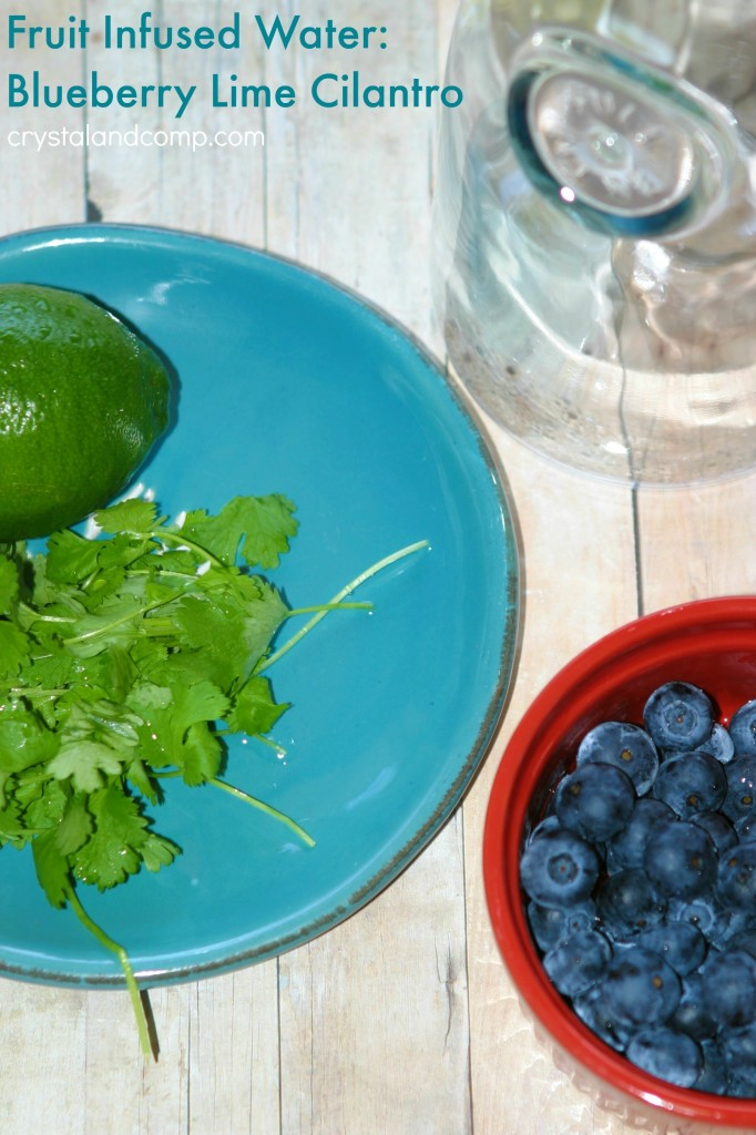 Fruit Infused Water Blueberry Lime Cilantro