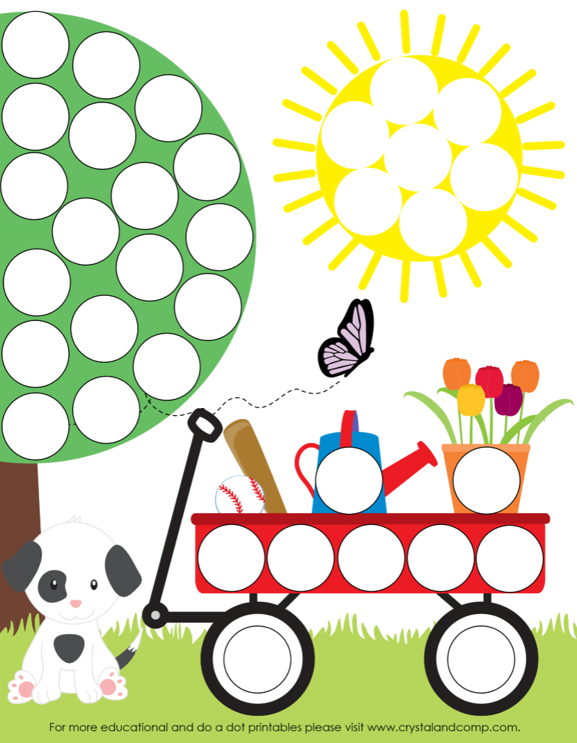 preschool do a dot printables tree wagon and sun